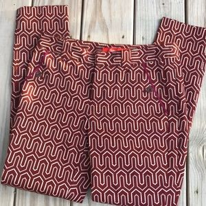 Anthropologie Pants - Cartonnier for Anthro Red Print Charlie Trouser